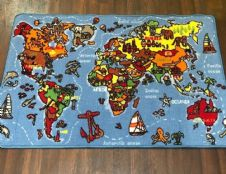 NEW WORLD MAP EDUCATIONAL SCHOOL HOME MAT RUG 80X120CM MULTICOLOUR NON SLIP
